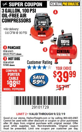 Save $18 on 3-Gallon Oil-Free Air Compressor - Valid at Harbor Freight through 9/22/2019
