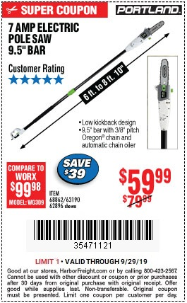 Save $20 on the Portland Electric Pole Saw