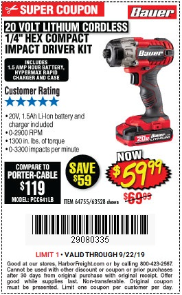 Save $10 on Bauer 20V Lithium Cordless Impact Driver Set - Valid at Harbor Freight through 9/22/2019