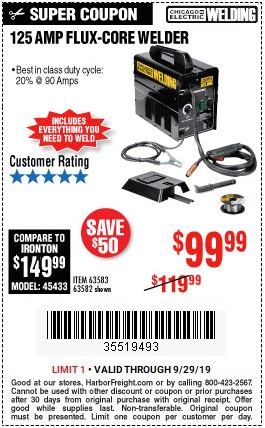 Buy the Chicago Electric Flux 125 Welder for $99.99
