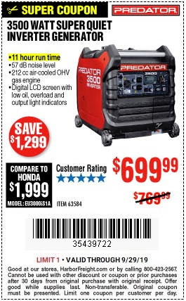 $699 99 for the Predator 3500 Watt Super-Quiet Inverter
