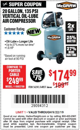 Save $15 on 20-Gallon 135 PSI Air Compressor - Valid at Harbor Freight through 9/22/2019