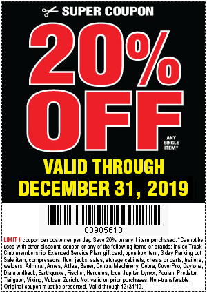 Take 20 Percent Off Any Single Item with Code 88905613 - Now Through December 31, 2019 - Harbor Freight Tools