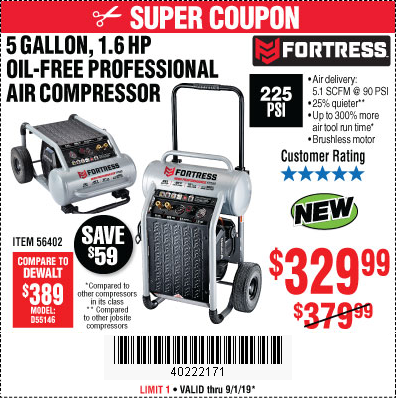 Fortress 5-Gallon Professional Air Compressor for $329.99