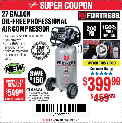 Fortress 27-Gallon Air Compressor