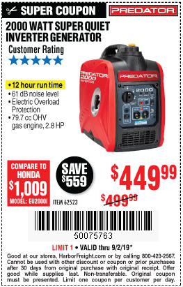 Save $50 on a Predator 2000 Watt Super Quiet Generator