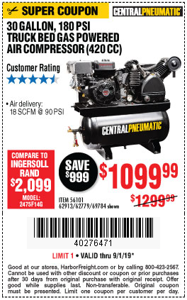 Buy the Central Pneumatic Truck Bed Air Compressor for $1099.99