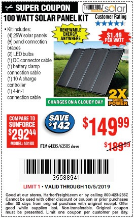 Buy A 100 Watt Solar Panel Kit For 149 99 Harbor Freight Coupons