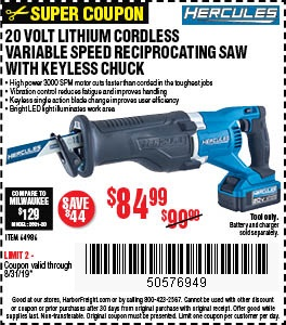 Buy the Hercules 20V Reciprocating Saw for $84.99