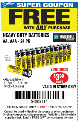 Free Batteries With Any Purchase Valid In Store Only Through Sunday 8 11 Harbor Freight Coupons