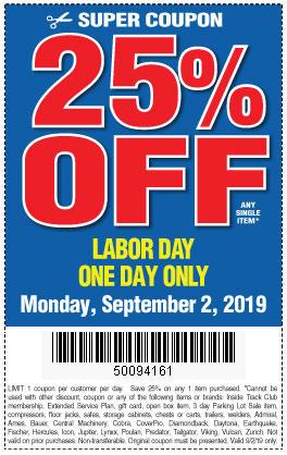 25 Percent Off Any Single Item, Only on Monday 9/2/2019