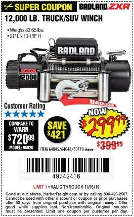 Buy the Badland 12,000 LB Truck / SUV Winch for $299.99
