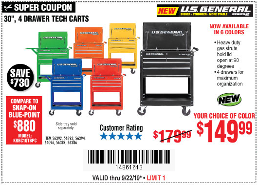 Buy a U.S. General 30-inch, 4-drawer Tech Cart for $149.99