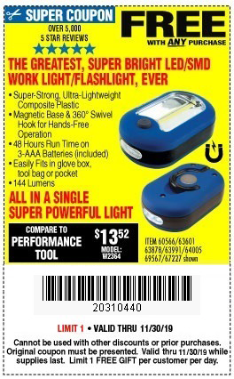 Free Led Flashlight Work Light With Purchase Through 11