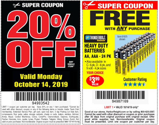 Columbus Day Event Free Batteries With Purchase Harbor Freight Coupons