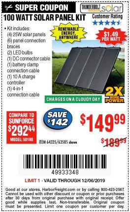 Buy A 100 Watt Solar Panel Kit For 149 99 Harbor Freight Coupons