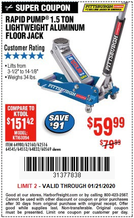 Buy The Pittsburgh 1 5 Ton Aluminum Racing Floor Jack For 59 99