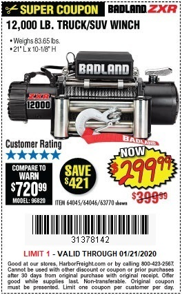 Buy the Badland ZXR 12000 Lbs. Truck SUV Electric Winch for $299.99