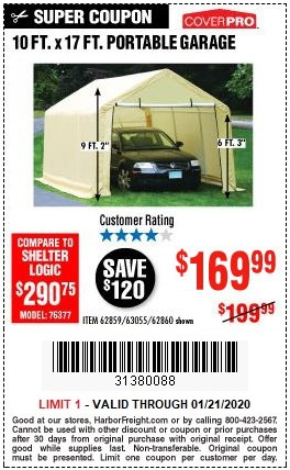 Buy Our Top-Selling Portable Garage for $169.99 – Harbor ...