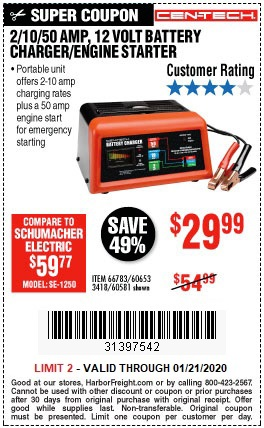 Buy the CEN-TECH 12V Battery Charger / Engine Starter for $29.99