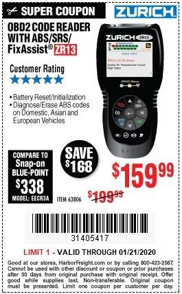 Get the Zurich ZR13 OBD2 Code Reader for Only $159.99