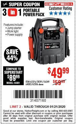 Buy the Cen-Tech 12-Volt Jump Starter and Power Supply for $49.99