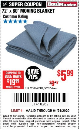 Buy the Haul-Master 72 In. X 80 In. Moving Blanket for $5.99