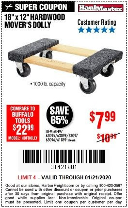 Buy the Haul-Master Hardwood Mover's Dolly for $7.99