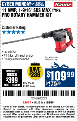 10.5 Amp 1-9/16 in. SDS Max-Type Pro Variable Speed Rotary Hammer
