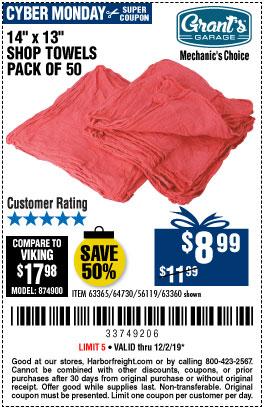Mechanic's Shop Towels 14 in. x 13 in., 50 Pk.