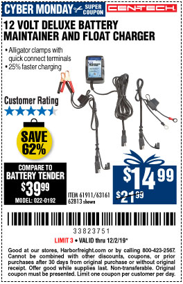 12V Deluxe Battery Maintainer and Float Charger