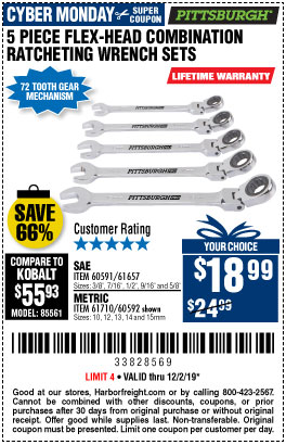 SAE Flex-Head Combination Ratcheting Wrench Set, 5 Pc.