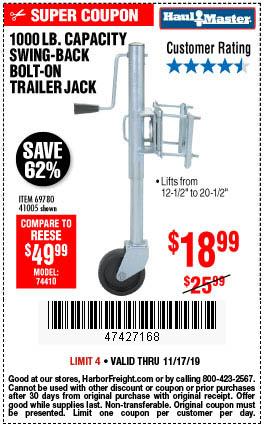 1000 lb. Swing-Back Bolt-On Trailer Jack