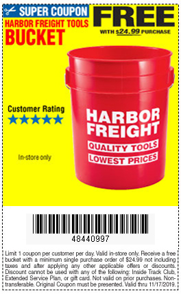 Free Harbor Freight Bucket When You Spend 24 99 Harbor Freight Coupons