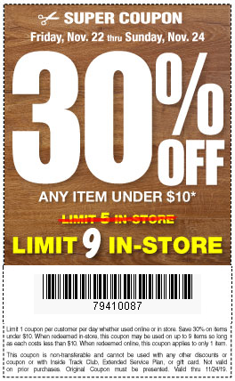30% Off Items Under $10, Now Through 11/24 -- Harbor Freight