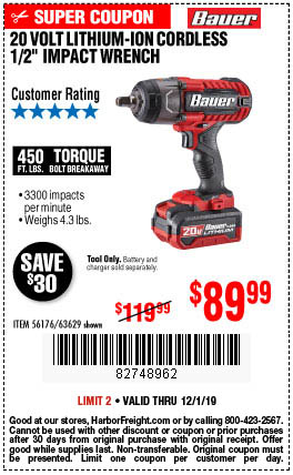 Buy the 20V Bauer Hypermax Lithium 1/2 in. Impact Wrench - Tool Only - for $89.99 through December 1, 2019