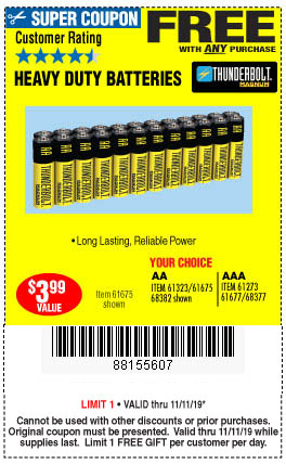 1 Free YC 24pc AA or AAA HD Battery w/Any Purchase