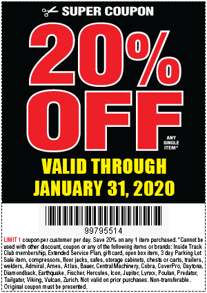 20 Percent Off Any Item at Harbor Freight - Coupon Code 99795514 - Valid Through January 31, 2020