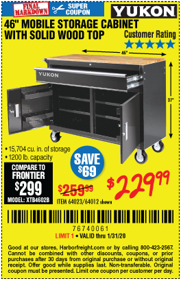 Yukon 46 In Mobile Storage Cabinet With Wood Top For 229