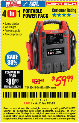 Cen Tech 4 In 1 Portable Power Pack With Jump Starter For 59 99 Through 1 31 2020 Harbor Freight Coupons