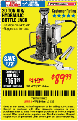 Pittsburgh Automotive 20 Ton Air Hydraulic Bottle Jack For 89 99 Through 1 31 2020 Harbor Freight Coupons