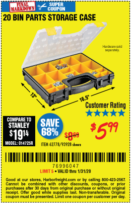 Storehouse 20 Bin Medium Portable Parts Storage Case For 5 99 Through 1 31 2020 Harbor Freight Coupons