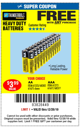Huge Christmas Sale Get 20 Off Free Batteries W Purchase Harbor Freight Coupons