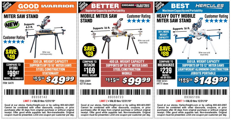 Buy the Right Miter Saw Stand for Your Job - Now Through December 31, 2019 - Harbor Freight Tools