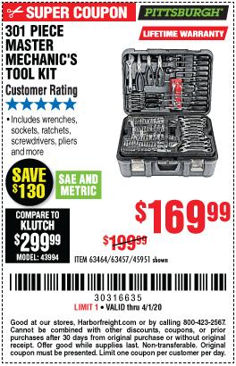 Mechanic's Tool Set 301 Pc.