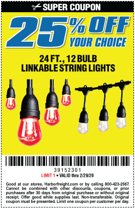 25% off your choice String Light 24ft 12bulb