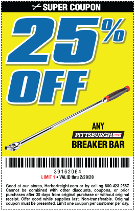 25% off any Pittsburgh Pro Breaker