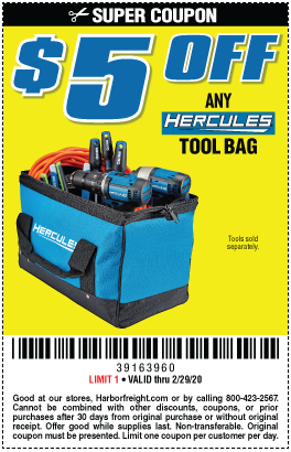 $5 off Any Hercules Tool Bag (5 skus)