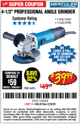 Corded 4-1/2 in. 7 Amp Professional Angle Grinder
