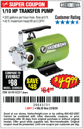 Drummond 1 10 Hp Transfer Pump For 49 99 Harbor Freight Coupons